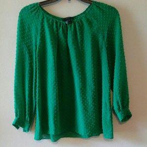 J.Crew Silk Blend Green Swiss Dot Textured Top(4)